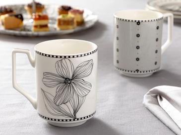 Denby Flowery Чаша 2 Бр. 350 Мл Черно-Бяло-Кремаво