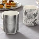 Denby Pied De Poule New Bone Cup 2 Piece 350 Ml Black-White-Cream