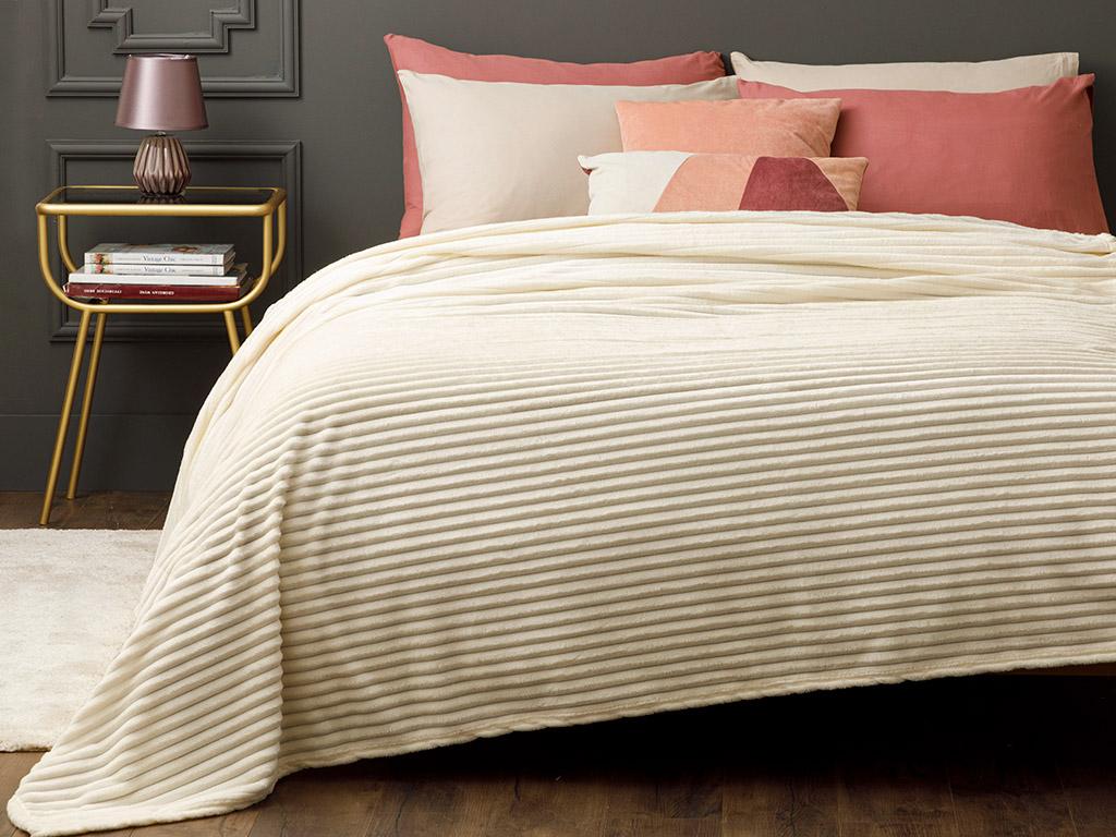 Plain Super Soft Blanket Single Size 150x200 Cm Light Off White