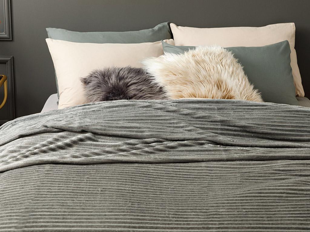 Plain Super Soft Blanket Single Size 150x200 Cm Anthracite