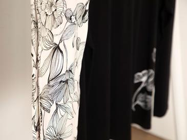 Big Flower Пижама Комплект L-XL Черно-Бяло