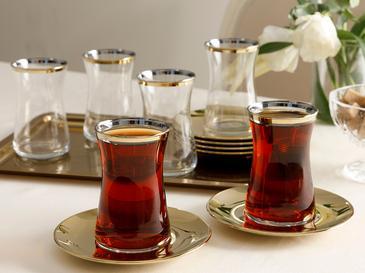 Baıley Комплект За Чай 6 Броя Стъкло 95 Ml Златист