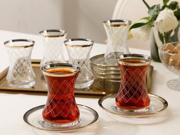 Tribal Комплект За Чай 6 Броя Стъкло 120x40x3 Cm Златист