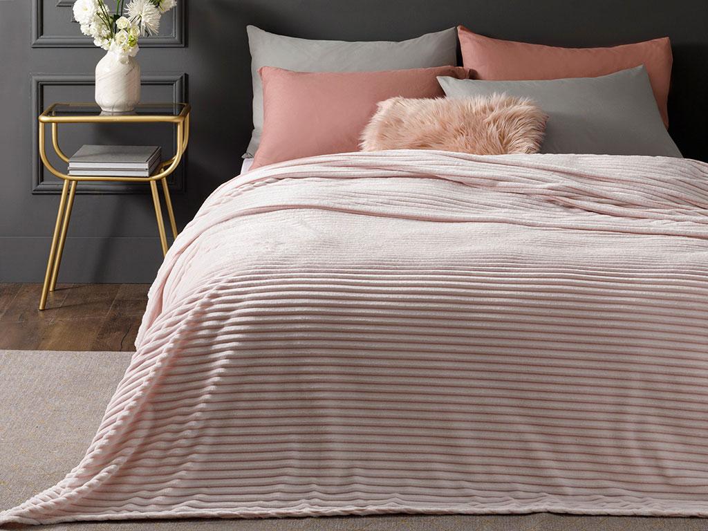Fancy Plain Super Soft Double Size Blanket 200x220 Cm Powder