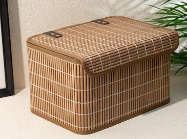 Hardwood Bamboo Кутия за Съхранение 33x23x20 См Кафе