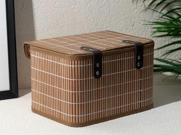 Hardwood Bamboo Кутия за Съхранение 28x20x18 См Кафе