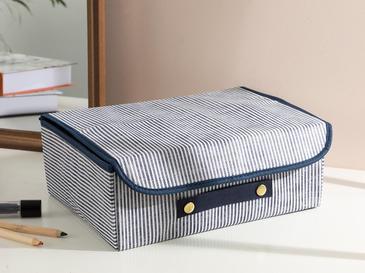 Thin Stripe Кутия за Съхранение Полипропилен 30x23x11 См Тъмносиньо