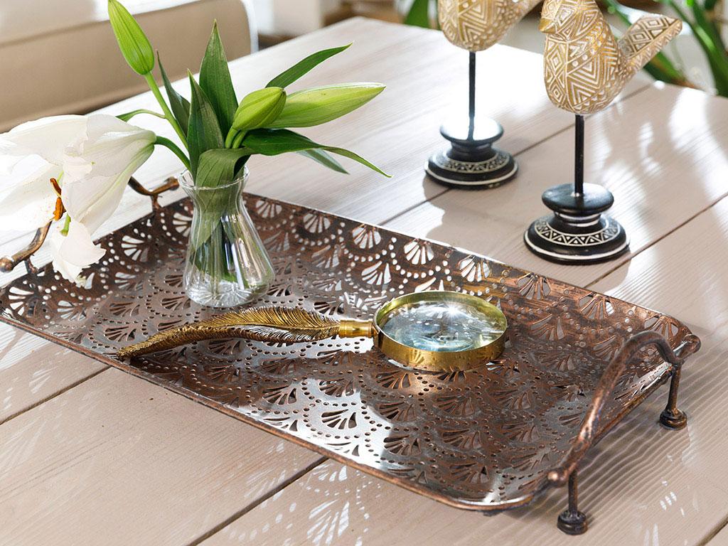 Karmen Metal Tray 39x22 Cm Antiquation Bronze