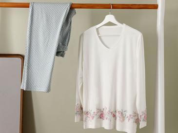 Natural Flower Пижама Комплект Вискоза L-XL Мента-Бяло