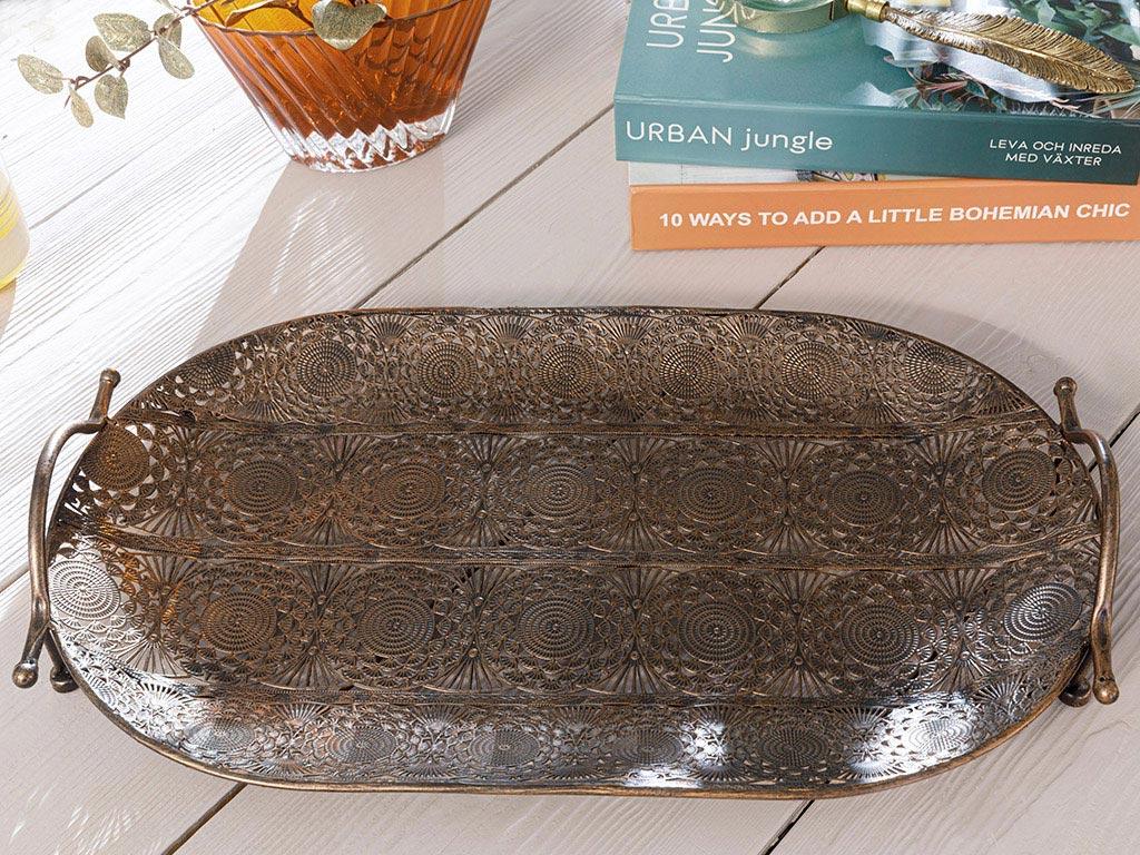 Rhonda Metal Tray 47x28 Cm Bronze