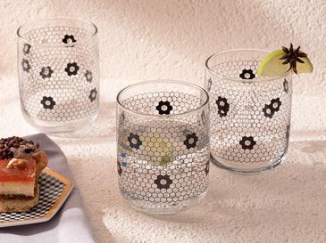 Denby Flowery Чаша за Безалкохолно Стъкло 3 Бр. 270 Мл Черно-Златисто