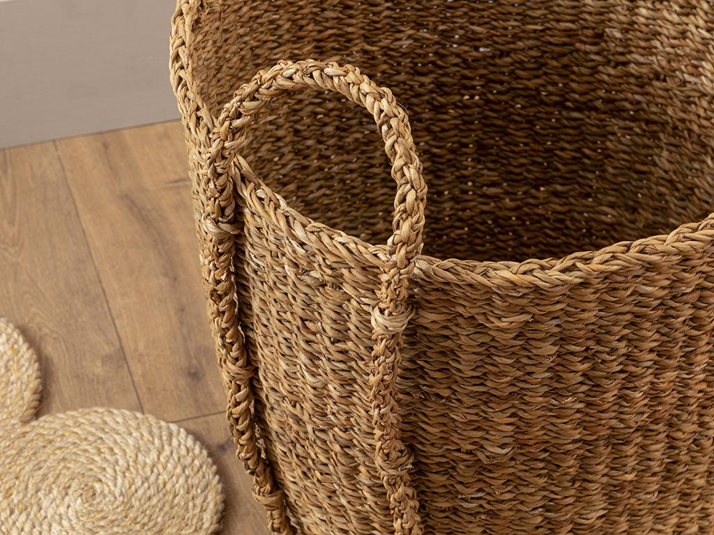 Nature Straw Hand Work Basket 45x40 Cm Kahve