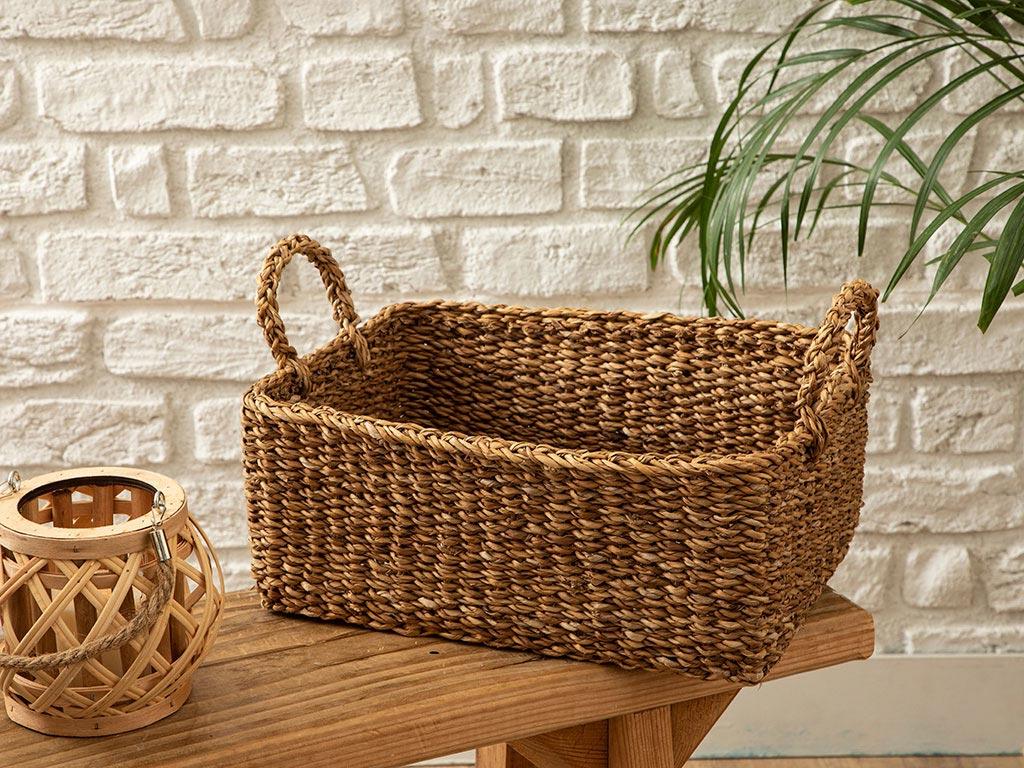 Straw Hand Work Basket Kahve