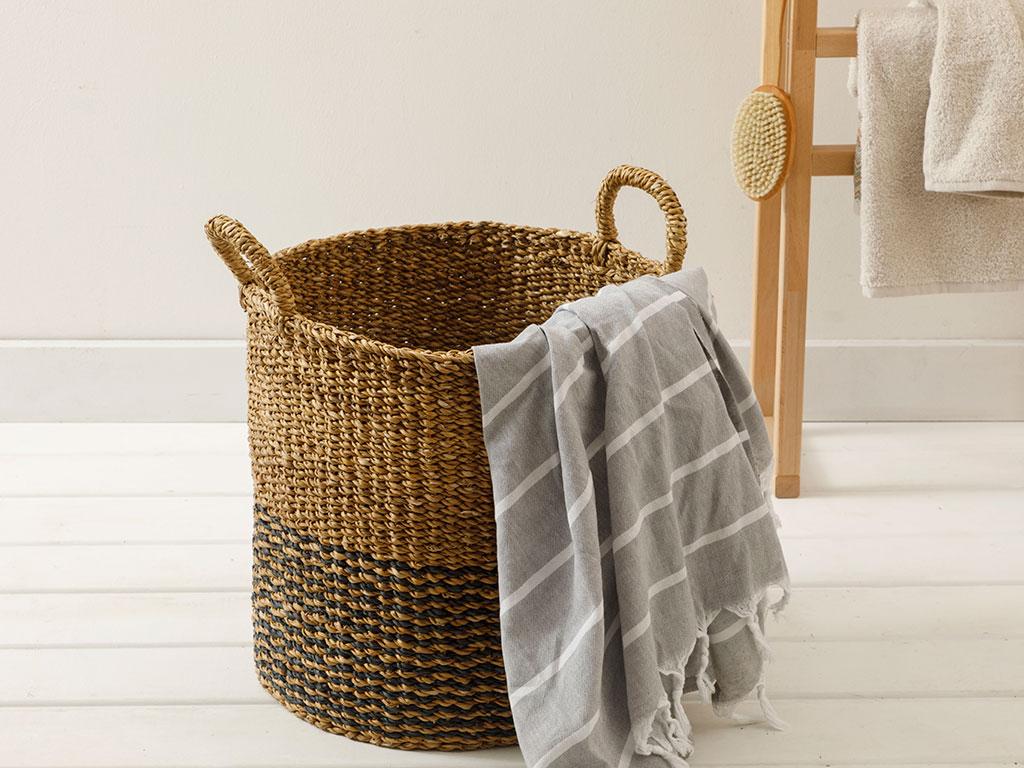 Straw Hand Work Basket 40x40 Cm