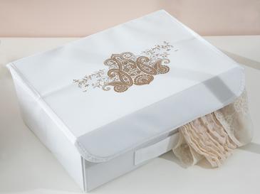 Lace Damask Кутия за Съхранение 30x23x11 См Бяло
