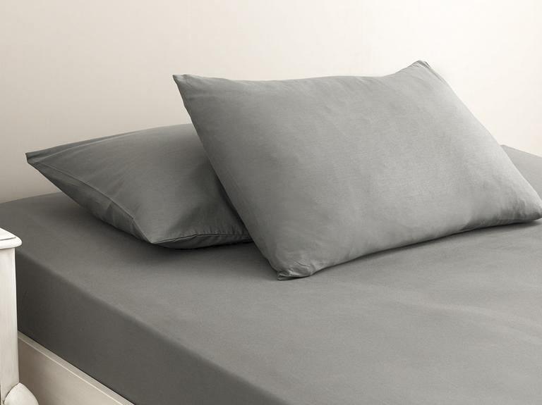 Plain Cotton Bed Sheet Double Size 240x260 Cm Stone