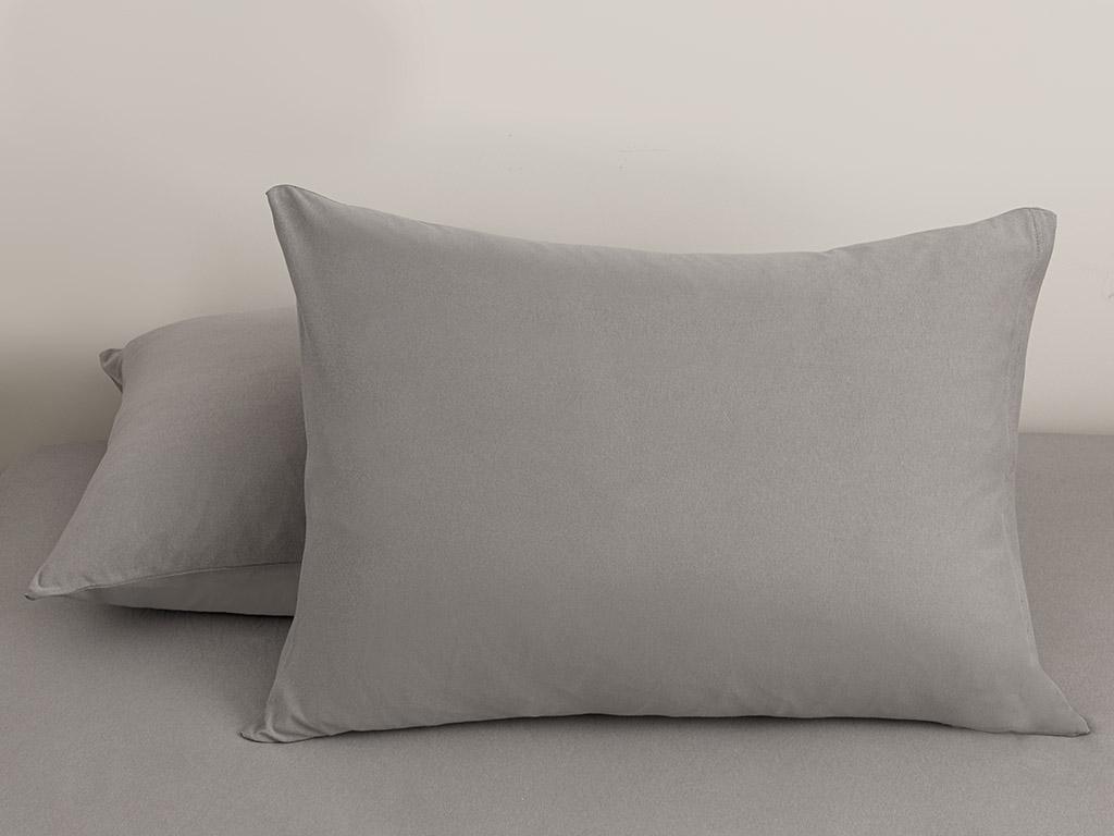 Plain Cotton Pillowcase 2 Piece 50x70 Cm Pebblestone