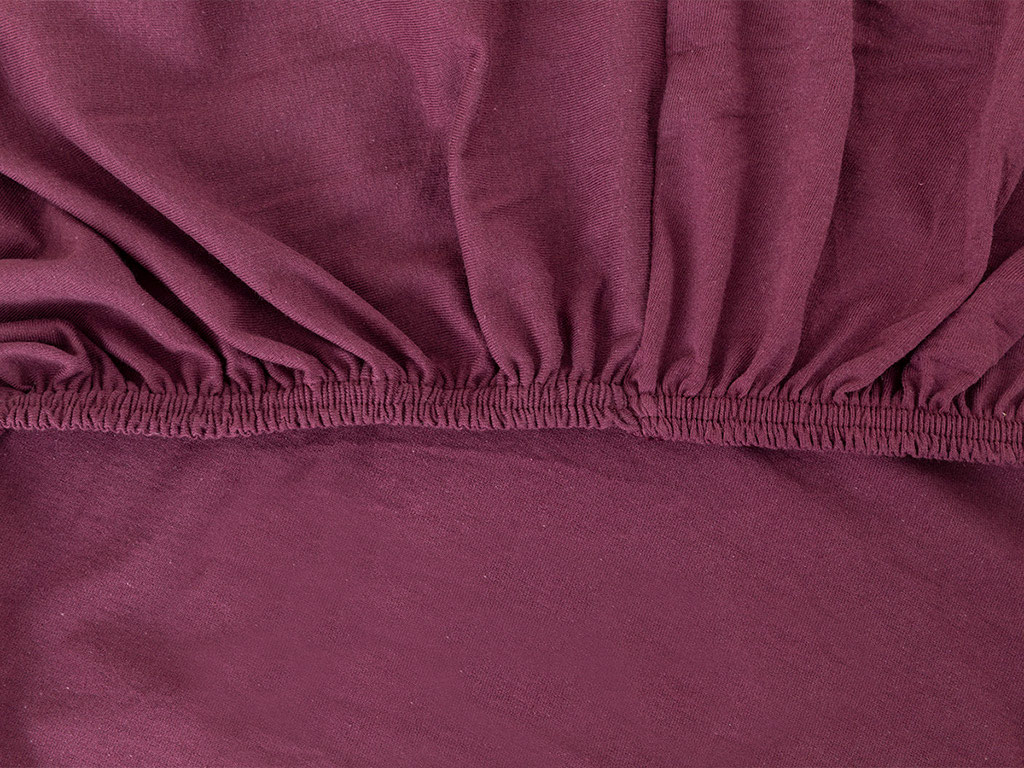 Plain Cotton Fitted Bed Sheet Set Single Size 100x200 Cm Cherry