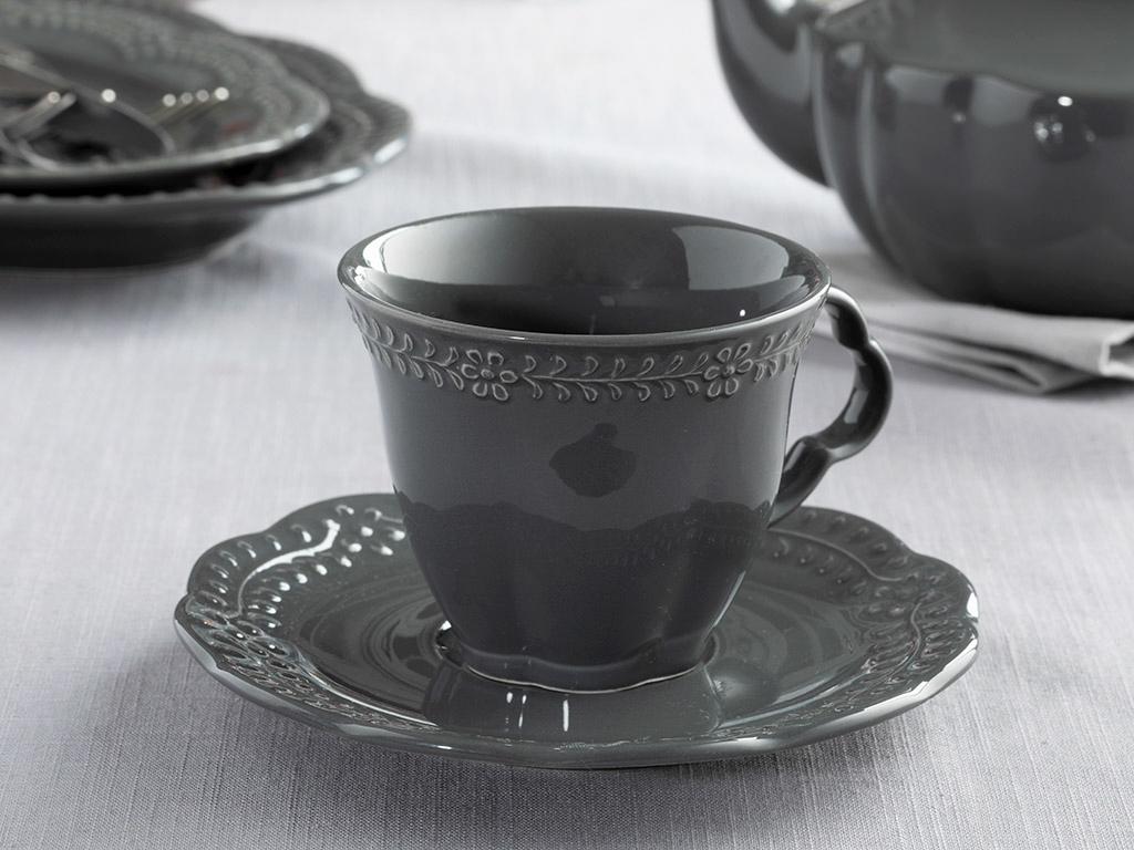 Porcelain 2 Set Tea Cup Set 18,5x6,0x4,3 Cm Antrasit