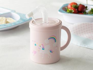 Unicorn Чаша със Сламка 210 Мл Розово