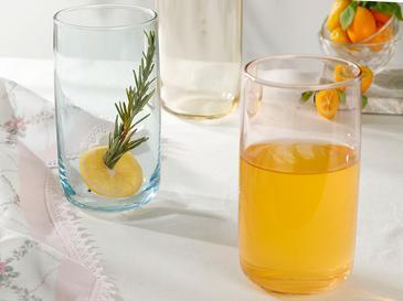 Rosalinda Чаша За Безалкохолно 3 Броя Стъкло 365 Ml Розово - Жълто - Зелено