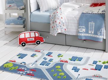 Mini Cars Детски Килим Шенил 120x180 См Екрю-Сиво