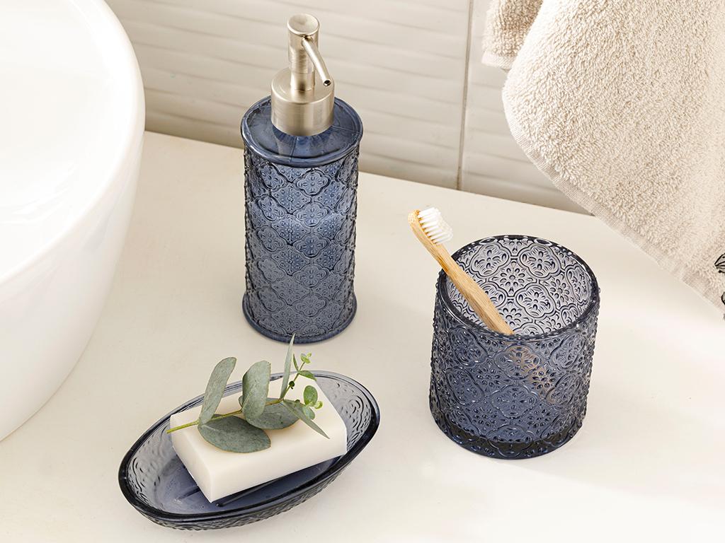 Blue Nature Glass 3 Set Bathroom Set Mavi