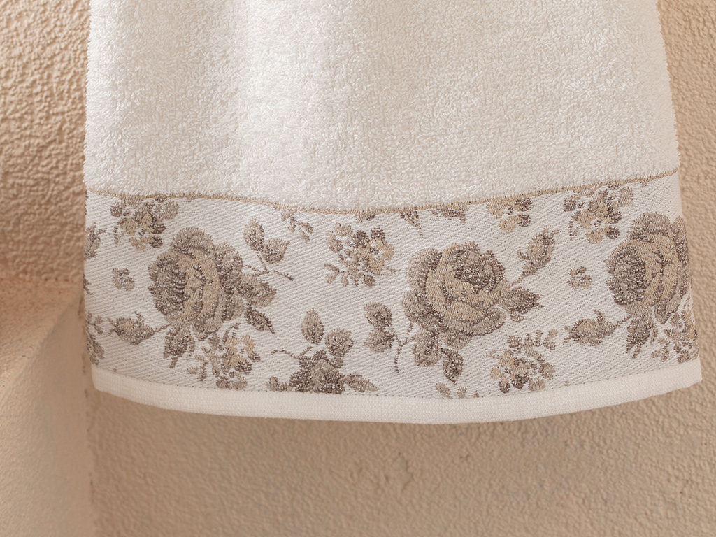 Rose Belle Bordered Face Towel 50x70 Cm Ecru