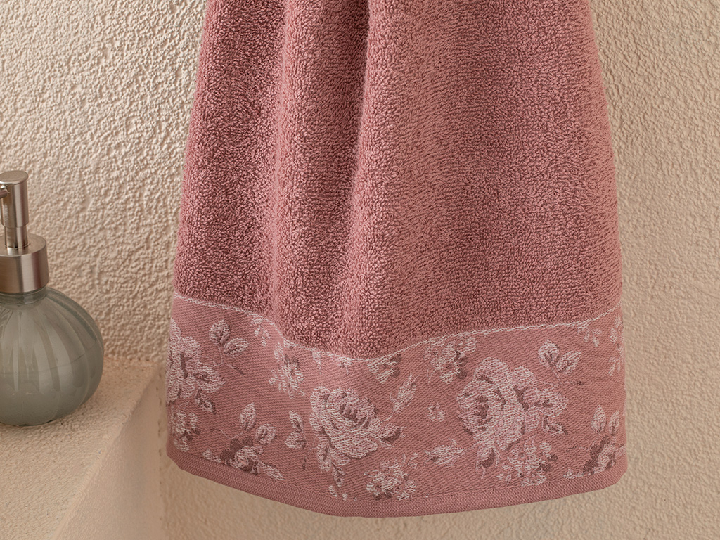 Rose Belle Bordered Face Towel 50x70 Cm Dusty Rose