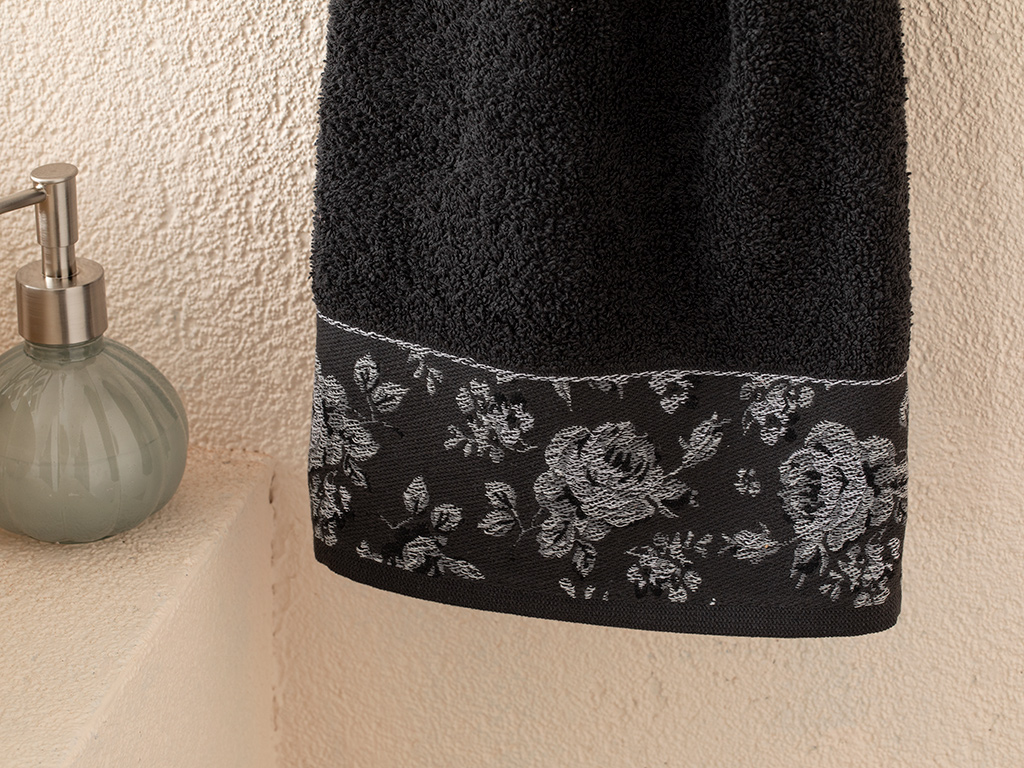 Rose Belle Bordered Face Towel 50x70 Cm Anthracite