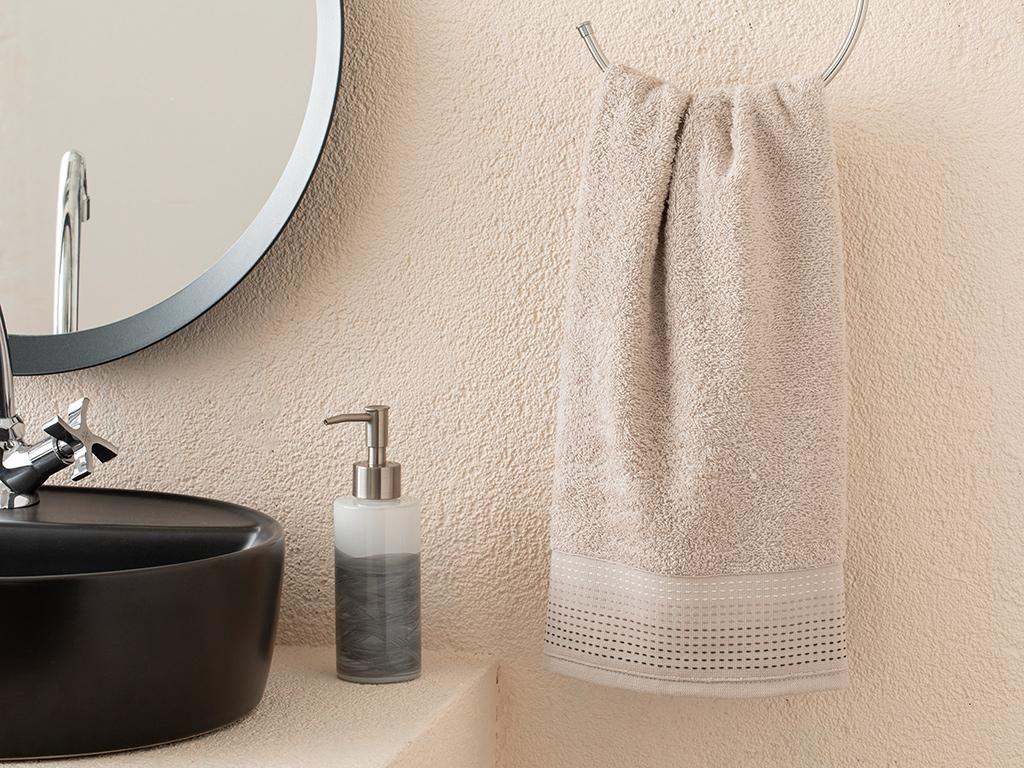 Stripes Striped Face Towel 50x70 Cm. Açık Bej