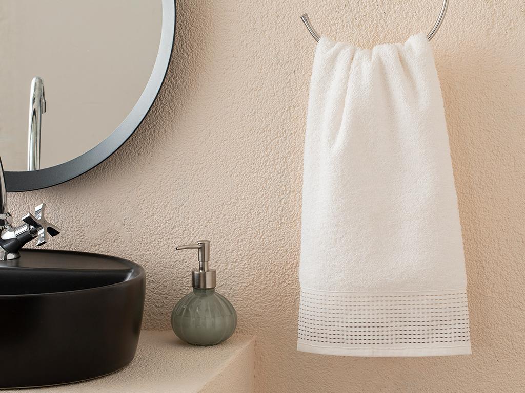 Stripes Striped Face Towel 50x70 Cm. Ekru