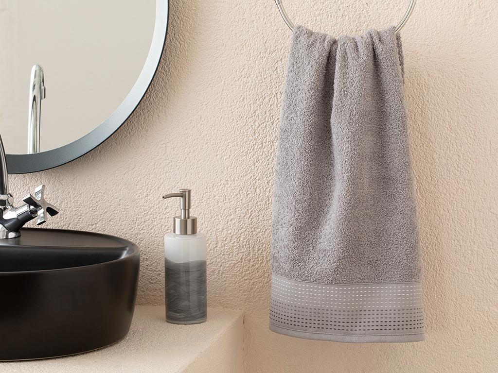 Stripes Striped Face Towel 50x70 Cm. Gri