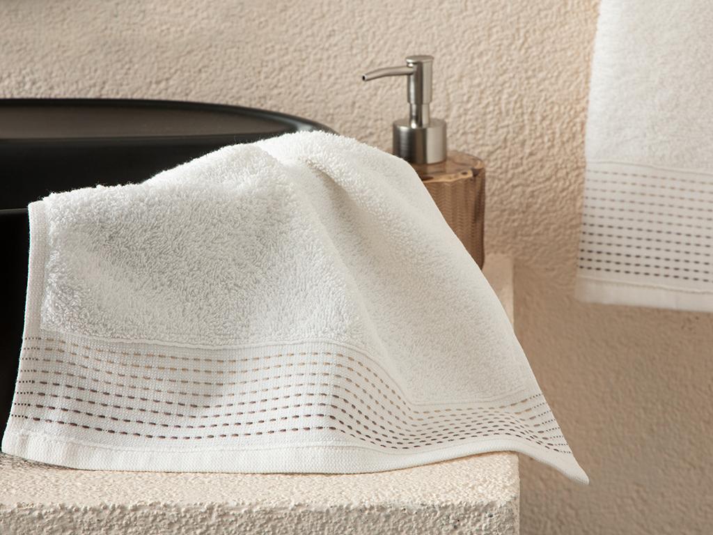 Stripes Striped Hand Towel 30x34 Cm Ekru