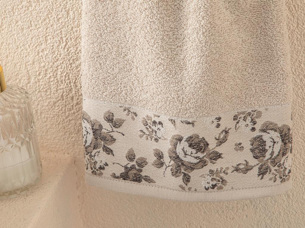 Rose Belle Bordered Face Towel 50x70 Cm Light Beige