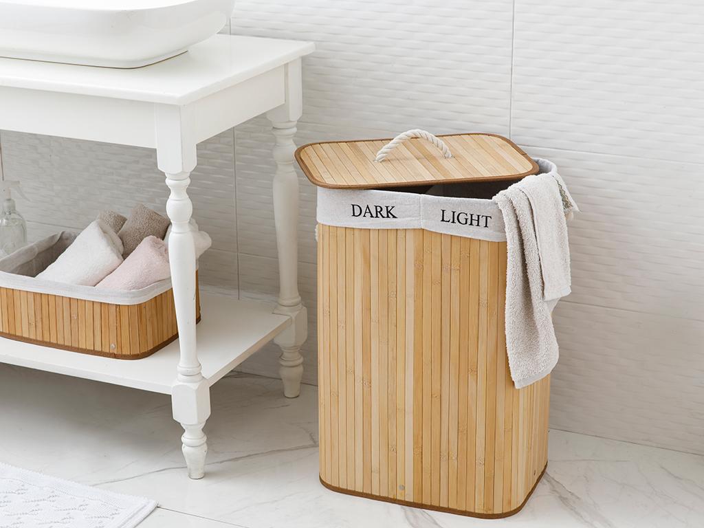Fancy Bamboo Laundry Basket 40x30x20 Cm Bej