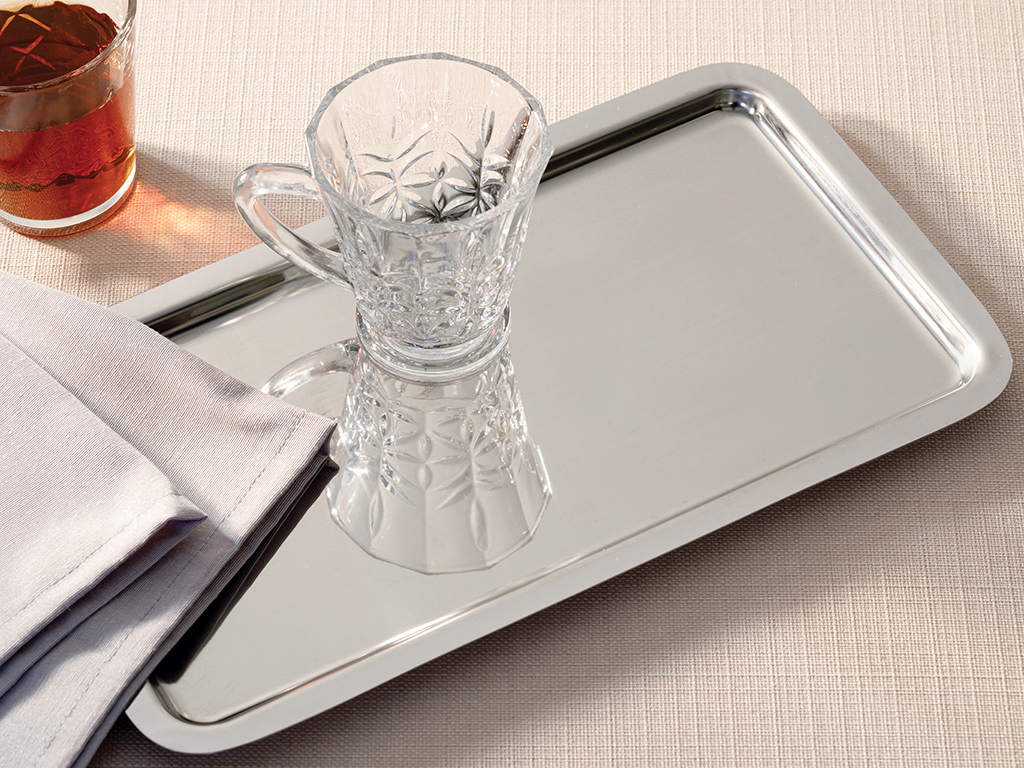 Shiny Metal Tray 32x18 Cm Silver