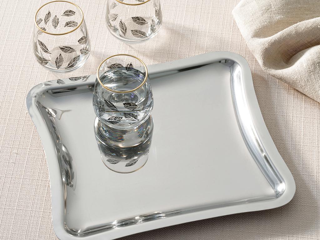 Shiny Metal Tray 22x12 Cm Gümüş