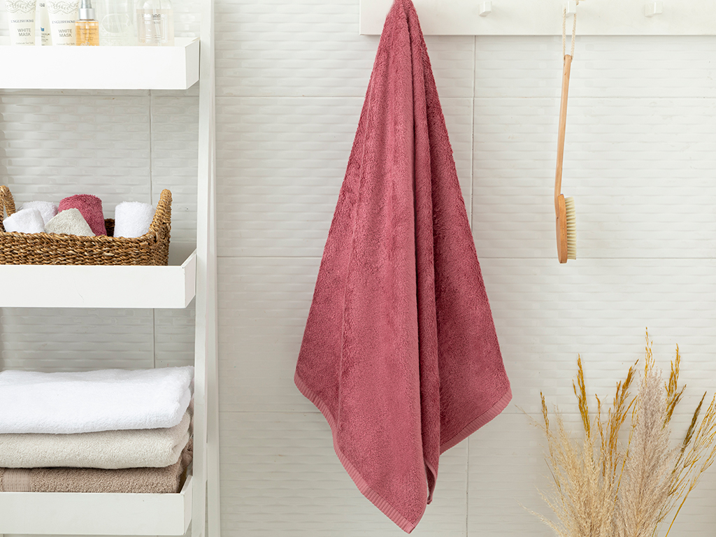 Leafy Bath Towel 70x140 cm Dusty Rose