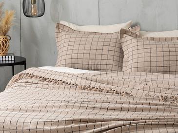 Check Покривка за Легло Единичен Размер 160x240 См Бежово
