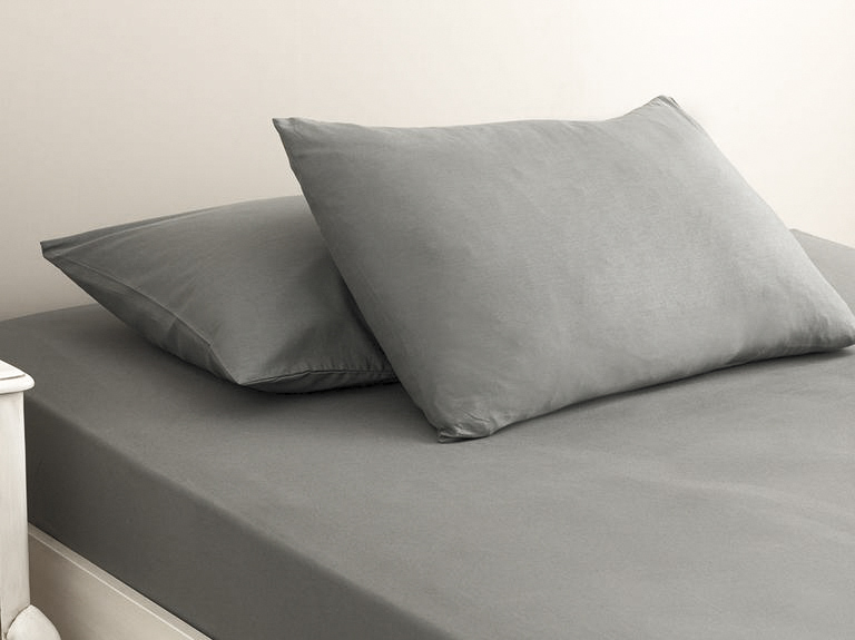 Plain Cotton Bed Sheet Single Size 160x240 Cm Pebblestone