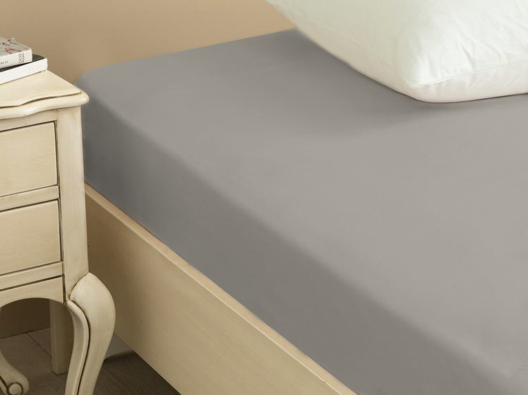 Plain Cotton Fitted Bed Sheet 140x200 Cm Pebblestone
