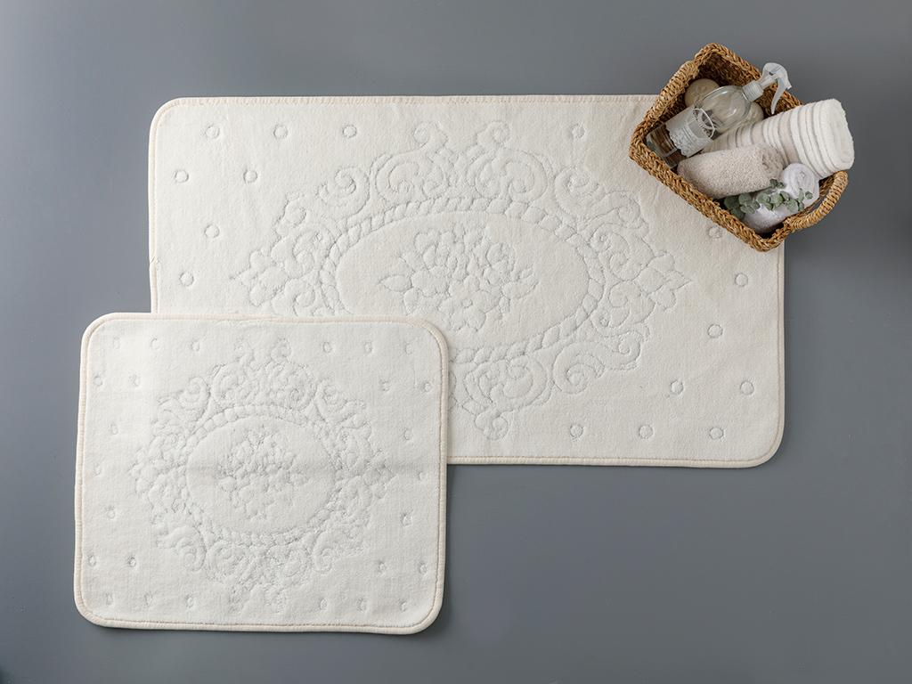 Alysa Cottony Bath Mat Set 60x100 - 50x60 Cm Krem