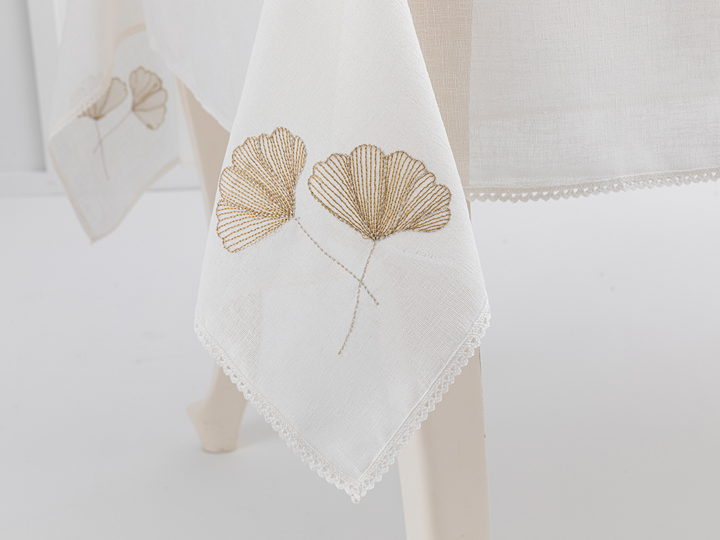 Embroidered Table Cloth 150x200 Cm Krem