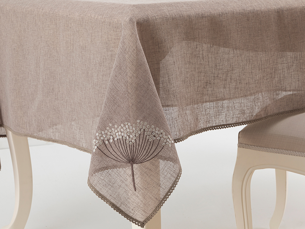 Flowers Embroidered Table Cloth 150x200 Cm Koyu Bej