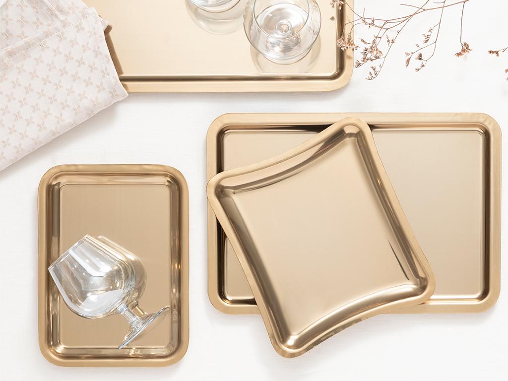 Shiny Metal Tray 22x16 Cm Gold