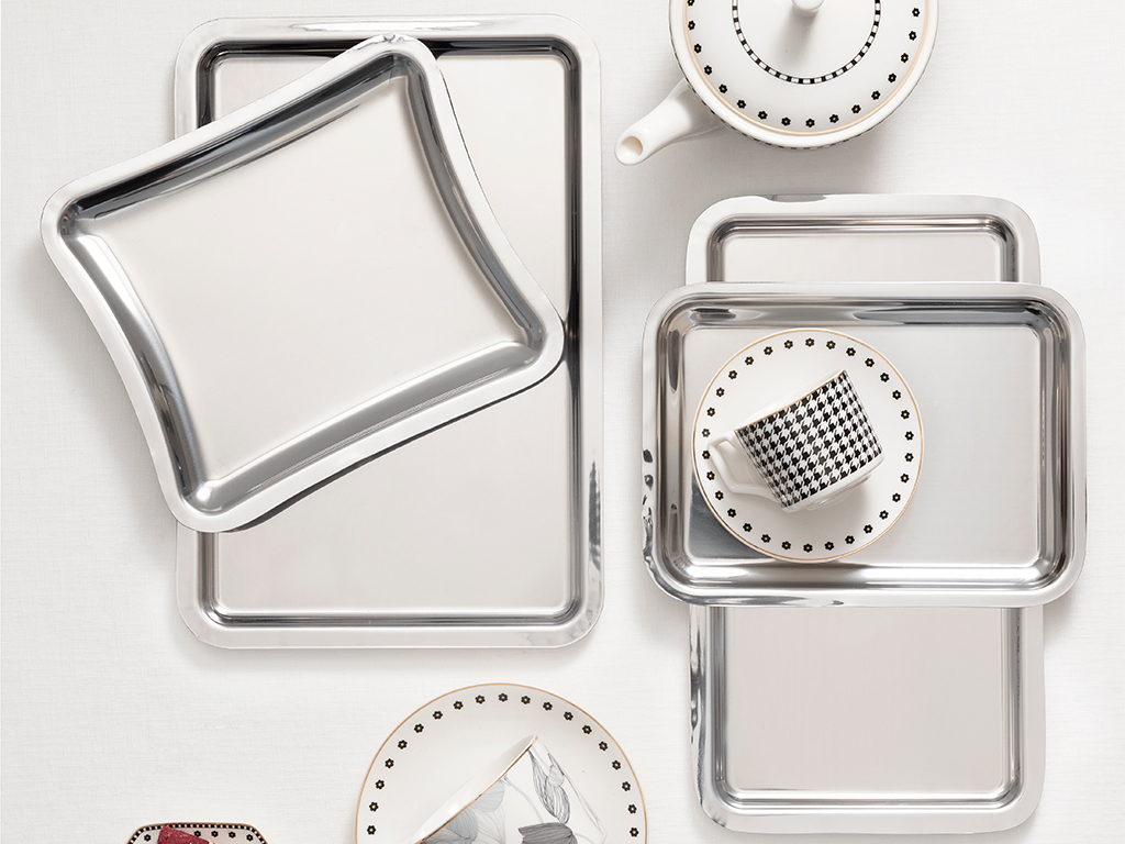 Shiny Metal Tray 22x16 Cm Silver