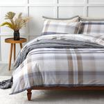 Modern Check Cotton Duvet Cover Set Single Size 160x220 Cm Navy Blue