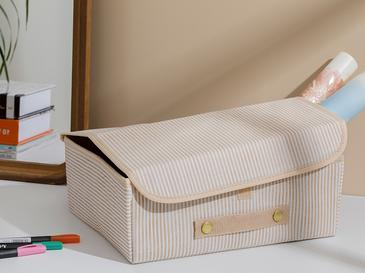 Thin Stripe Кутия за Съхранение Полипропилен 30x23x11 См Бежово