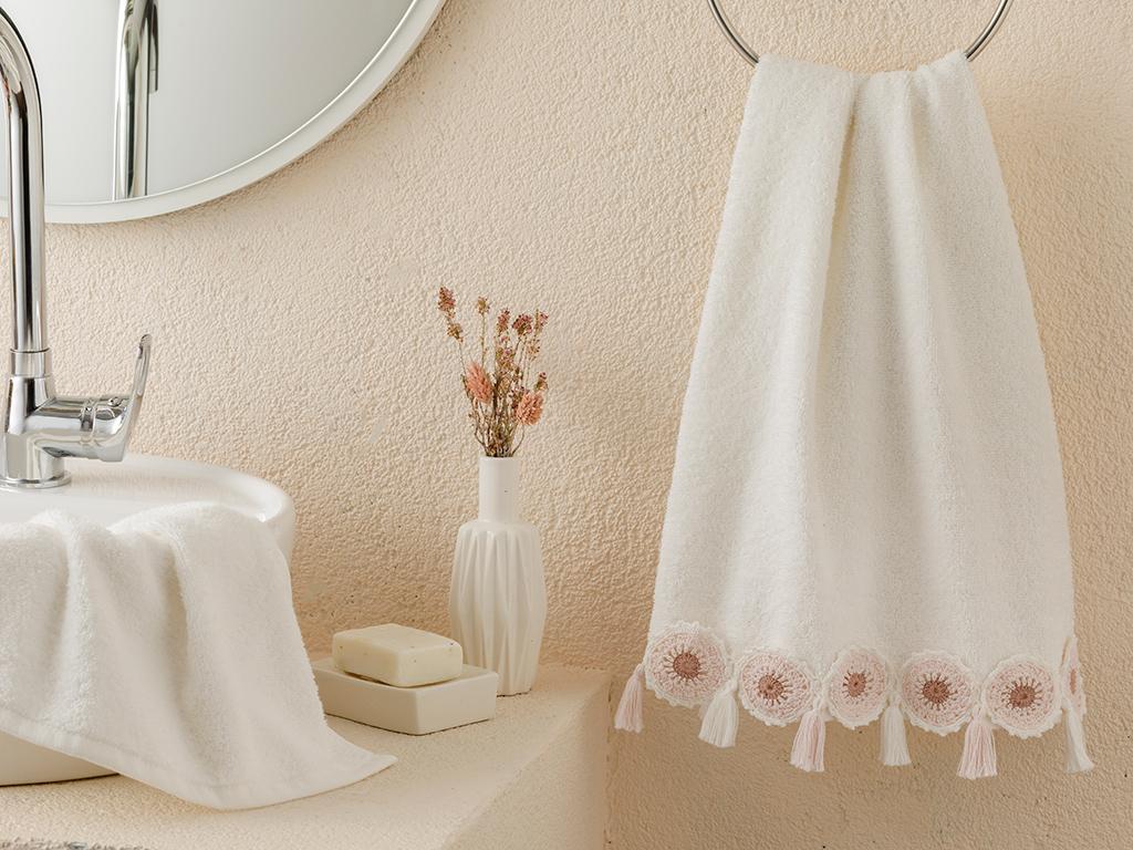 Cipso Rose Kroşeli Face Towel 50x80 Cm Ecru - Powder Pink